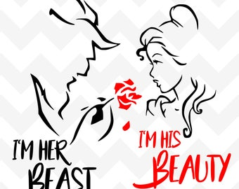 I'm His Beast I'm Her Beauty SVG | Beauty and the Beast svg | Belle SVG | Disney Belle Silhouette Cricut | Belle svg cut file | vector |