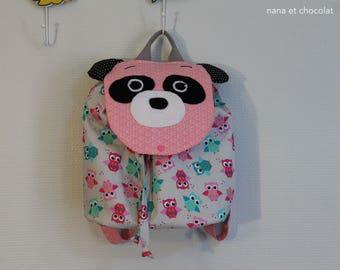 sur commande, Sac à dos enfant maternelle, sac à dos à coulisse, sac panda, rose, sac école, sac à doudou, chouette, panda, sac à dos fille