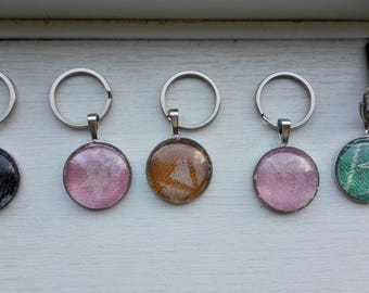 Keychains made with Cari slings wrap scraps