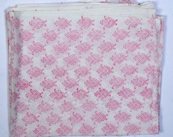 Handblock print fabric, Pink Color , 1 Yard