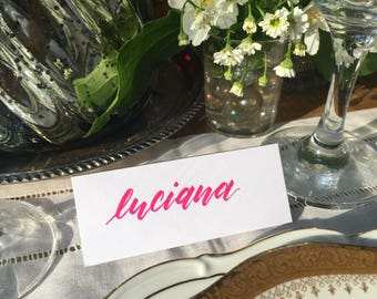 Hand lettered event / wedding place cards calligraphy