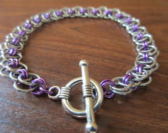 Simply Purple Chainmail Bracelet | Helm Pattern