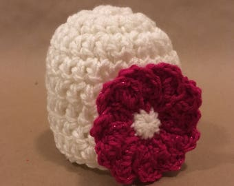 Crocheted baby hat with flower- baby hat with flower- crochet baby hat- flower hat- baby shower gift- baby gift.