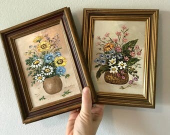 Set of 2 small flower oil paintings, framed vintage original signed art, small vintage original art, floral art painting, small artwork
