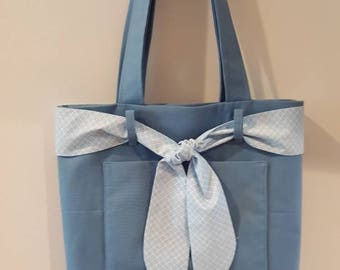 Blue Tote Bag with Bow