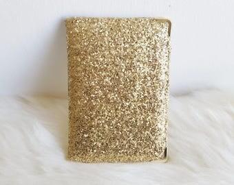 Glamorous Gold Glitter Passport Cover Holder Travel Wallet Case