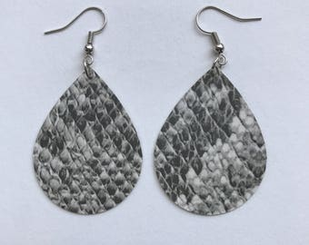The Morgan/Snakeskin Paper Teardrop Earrings