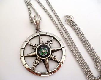 Stainless steel women/ man necklace_CAN5402083225347_ Compass Necklace_ Gift Ideas