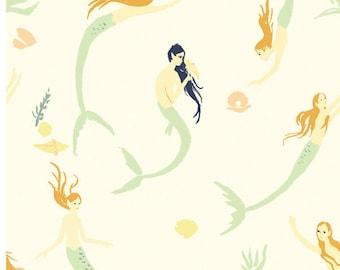 Organic cotton knit-Mermaid print fabric-Mermaid knit-Organic baby fabric-certified organic-interlock knit