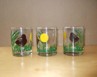 Duck Glasses - Set of 3 Vintage Drinking Glasses, Barware