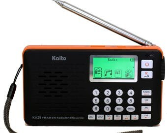 Kaito KA29 All in one world Receiver, with Recorder,AM FM SW Radio with MP3 Player (Black)