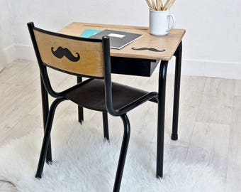 Small black mustache school desk