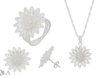 925 sterling silver jewelry set Lotus 3-piece filigree S06