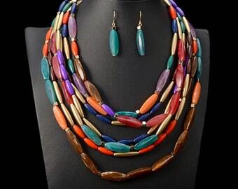 Multi Strand African Necklace Set,  Multi Strand Bead Necklace, Multi Color Necklace Set