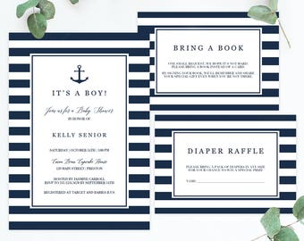 Nautical Baby Shower Invitation Set Template Download Anchor Baby shower Invitations Navy Blue Baby Boy Shower Invites Instant Download NS1