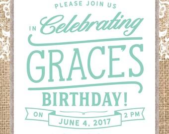 Girls Ladies Western Country Birthday Invitation