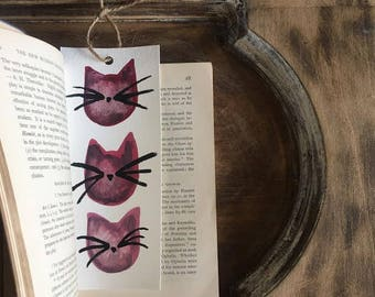 Fat Cat Bookmark / Watercolor Cats / Watercolor Bookmark / Original Art