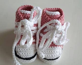 Baby shoes converse model pink with white booties girl baby girl baby booties