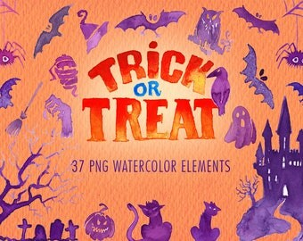 Halloween Watercolor clipart set. Handmade