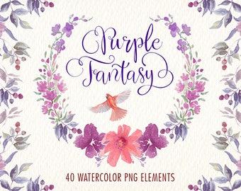 Watercolor flowers clipart. Purple fantasy png elements