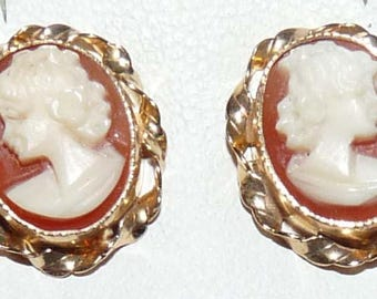 Vintage, 9ct Yellow Gold, Cameo Stud Earrings