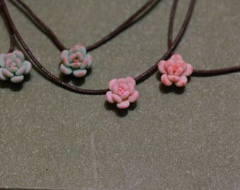 succulent necklaces - handmade with polymer clay