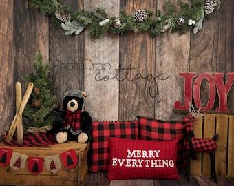 Rustic Holiday 2- 60x80 Fleece - Wrinkle Resistant - Backdrop