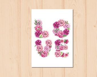 Love Letter Flower Watercolour Painting Drawing Art Print N188