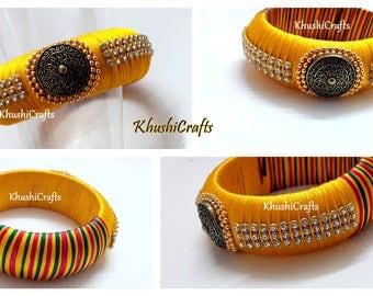 Yellow Designer Kada Style Bangle -Handmade Indian Jewelry