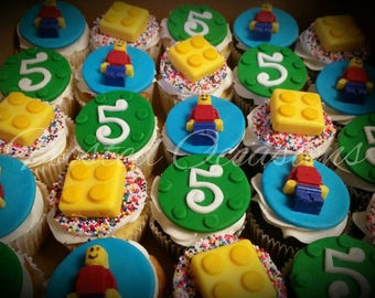 1 dozen lego fondant cupcake toppers