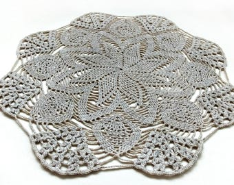 Beige crochet doily, crochet doilies, lace doily, table decoration, napkin, crochet coasters, crochet pattern, lace doily, cotton doily