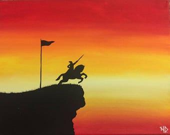"Original Handmade Acrylic Canvas Painting of Shivaji Maharaj - 14"" x 11"""