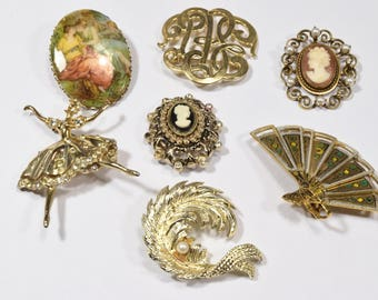 Vintage lot of 7  brooches pins fan ballerina cameo