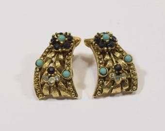 Turquoise, black and clear rhinestone clip on curved earrings southwest style - mid century - art deco