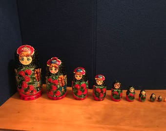"10"" Tall Giant Russian Nesting Doll 10 pieces"