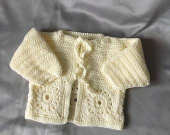 Birth to 3 months cream baby girls jacket