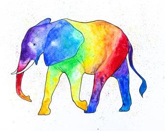 Rainbow Watercolor Print - Elephant