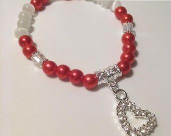 Jeweled Heart Beaded Bracelet
