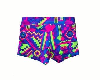 Girl's Short - Neon Aztec Print