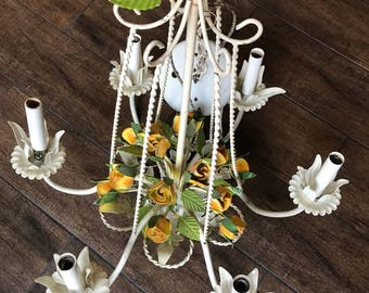 Antique shabby Chic white w/flowers chandelier