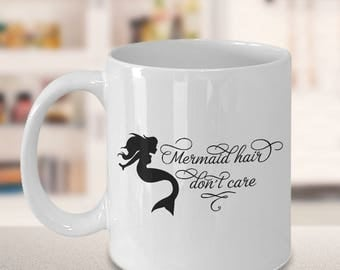 Unique Coffee Mugs, gift for her, family gift ideas, gift ideas for mom, gift ideas for daughter, mermaid hair