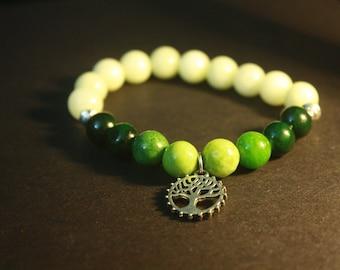 Yellow quartzite with green adventurine tree of life bracelet