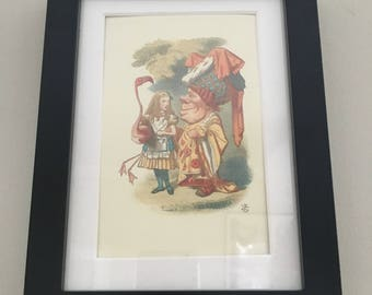 Classic Alice in Wonderland Illustration - framed Postcard - Alice with Queen of Hearts