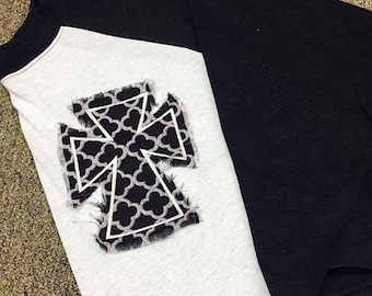 Raggy frayed edge Cross raglan Quatrefoil pattern Choose Your Color tee FREE SHIPPING
