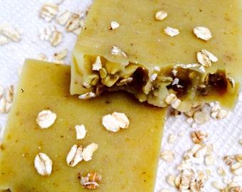 Bergamot Oil, Oatmeal and Lemon Zest Soap / Uplifting Soap / Exfoliating Soap / Shea Butter