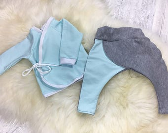 Shirt sweater to the wrap and bloomers set