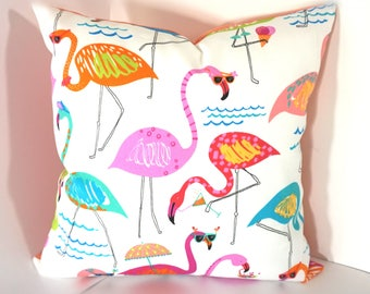 Summer outdoor pillow cover, Florida diva outdoor pillow cover, Fun birds summer outdoor decorative pillow, 16x16, 18x18, 20x20