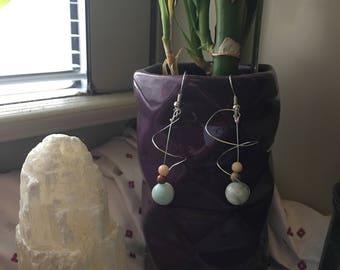 Wire wrapped beaded earrings