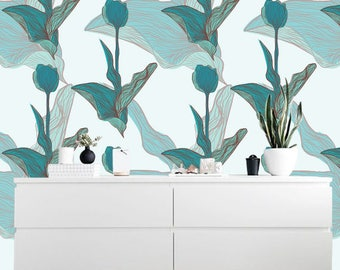 Removable wallpaper/Wallpaper/Peel and Stick/Self adhesive wallpaper/Modern Wallpaper /Flowers  patern A024A