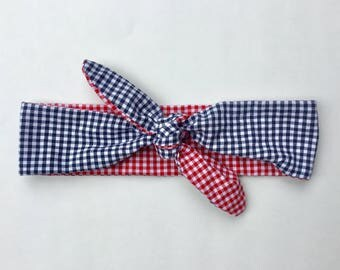 Red and Navy Gingham Knot Headband